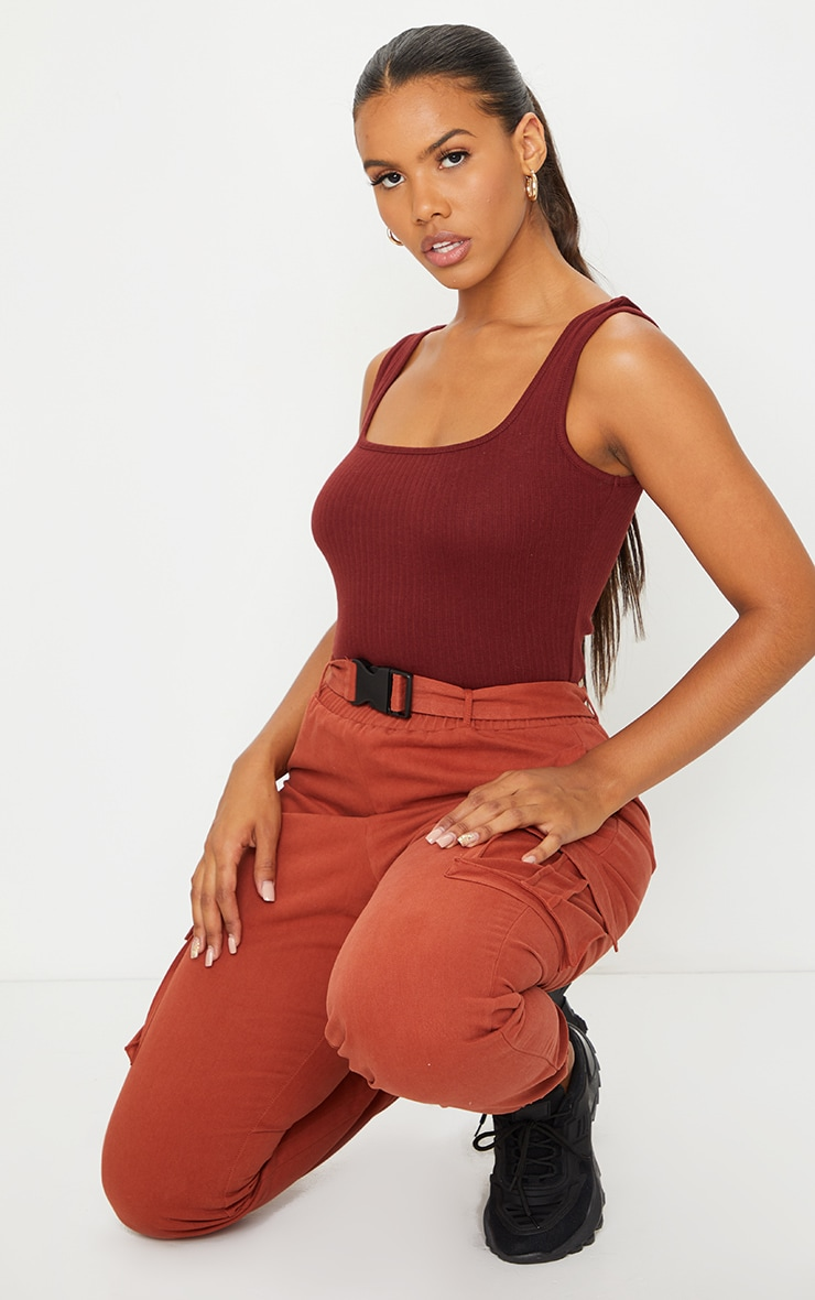 Chocolate Structured Rib Racer Vest 3