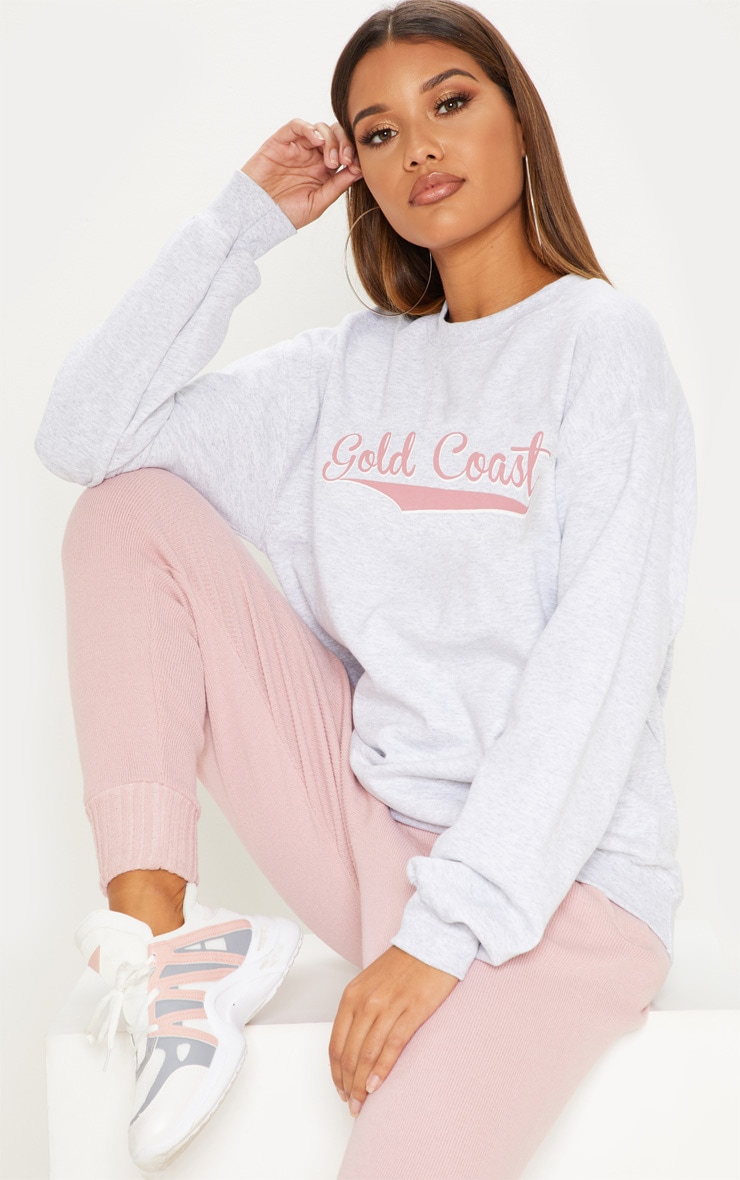 Grey Gold Coast Slogan Oversized Sweater 1
