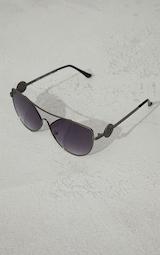 PRETTYLITTLETHING Black Branded Temple Cat Eye Aviator Sunglasses 2