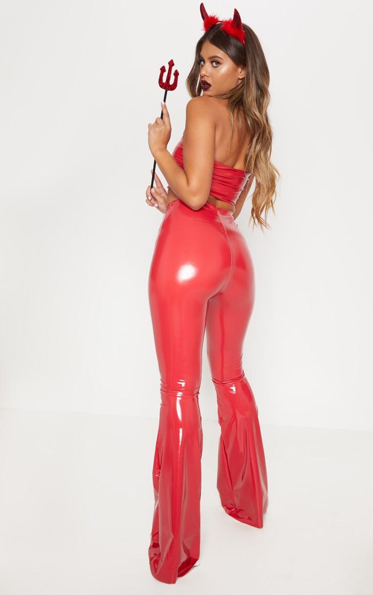 Red Vinyl High Waisted Flare Leg Trouser 1