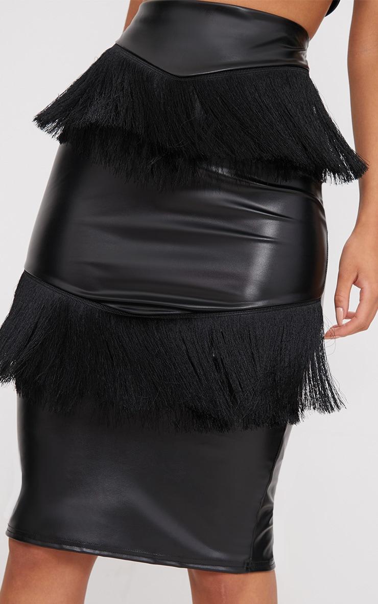 Black PU Fringe Detail Midi Skirt  5
