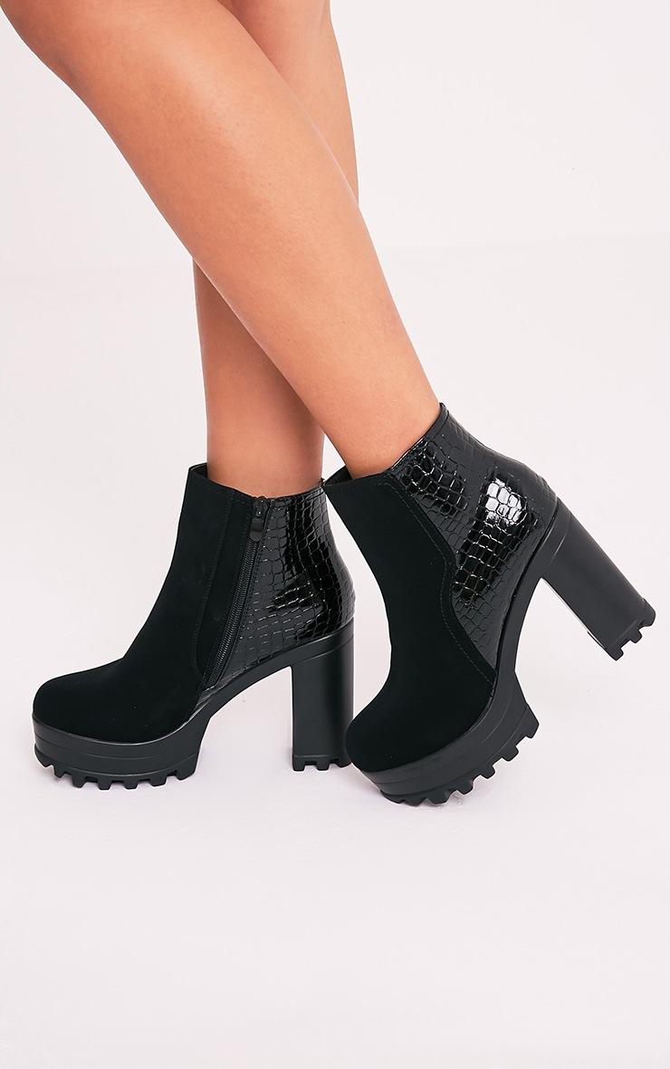 Sena Black Snake Heel Cleated Platform Ankle Boots 2