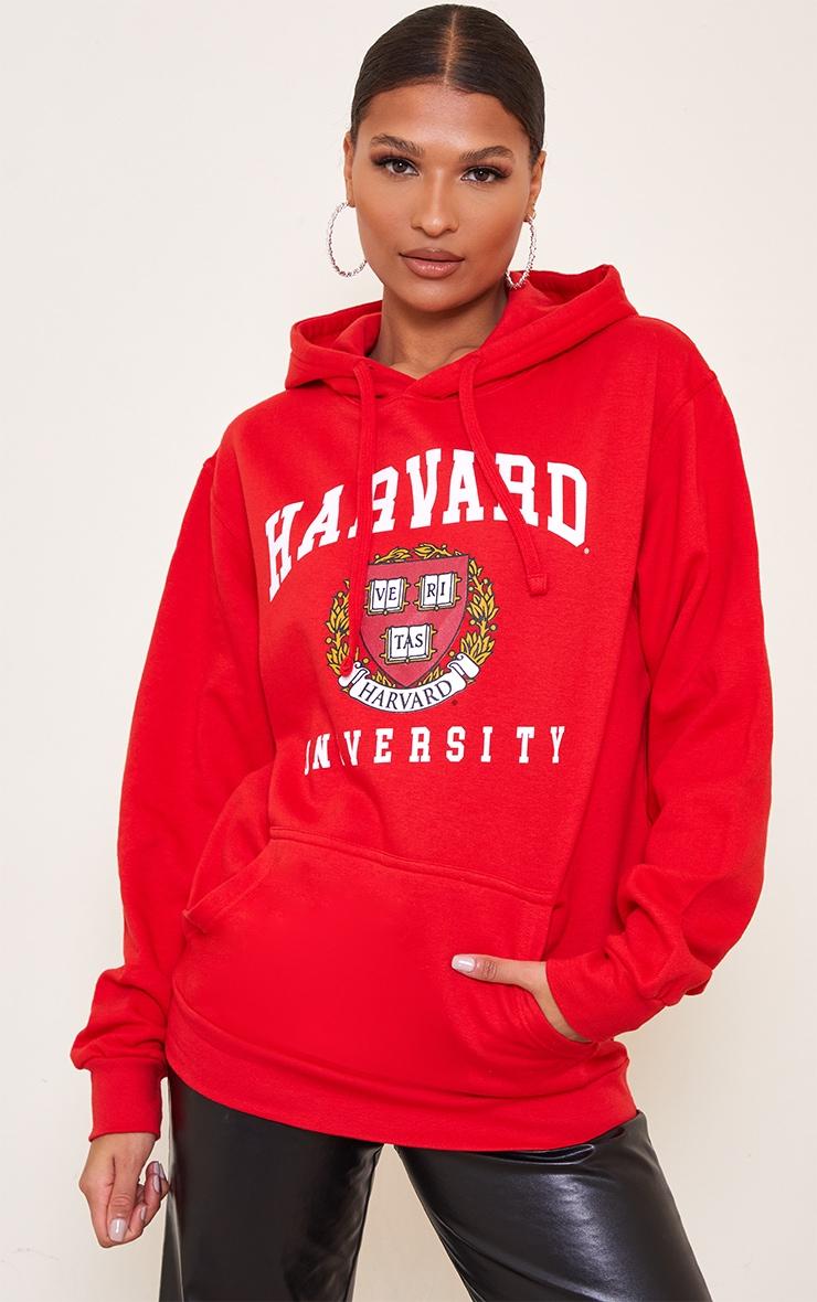Red Harvard Printed Hoodie 1
