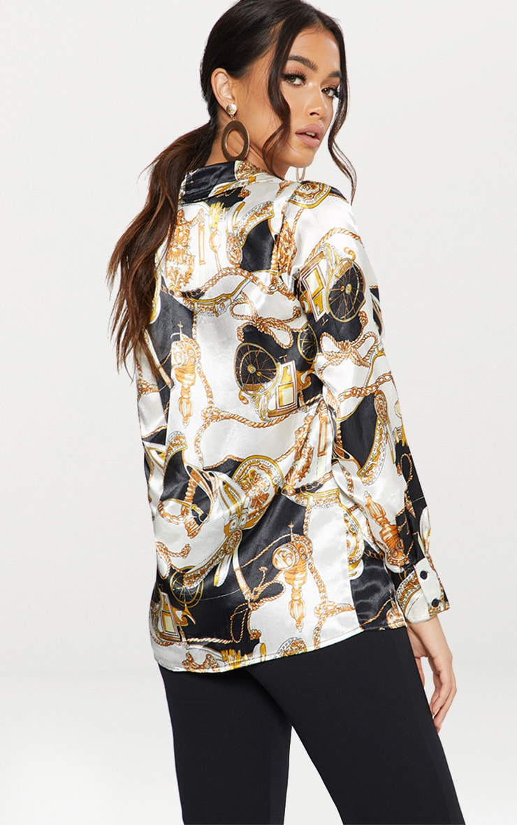 Black Satin Rope Print Oversized Shirt 3