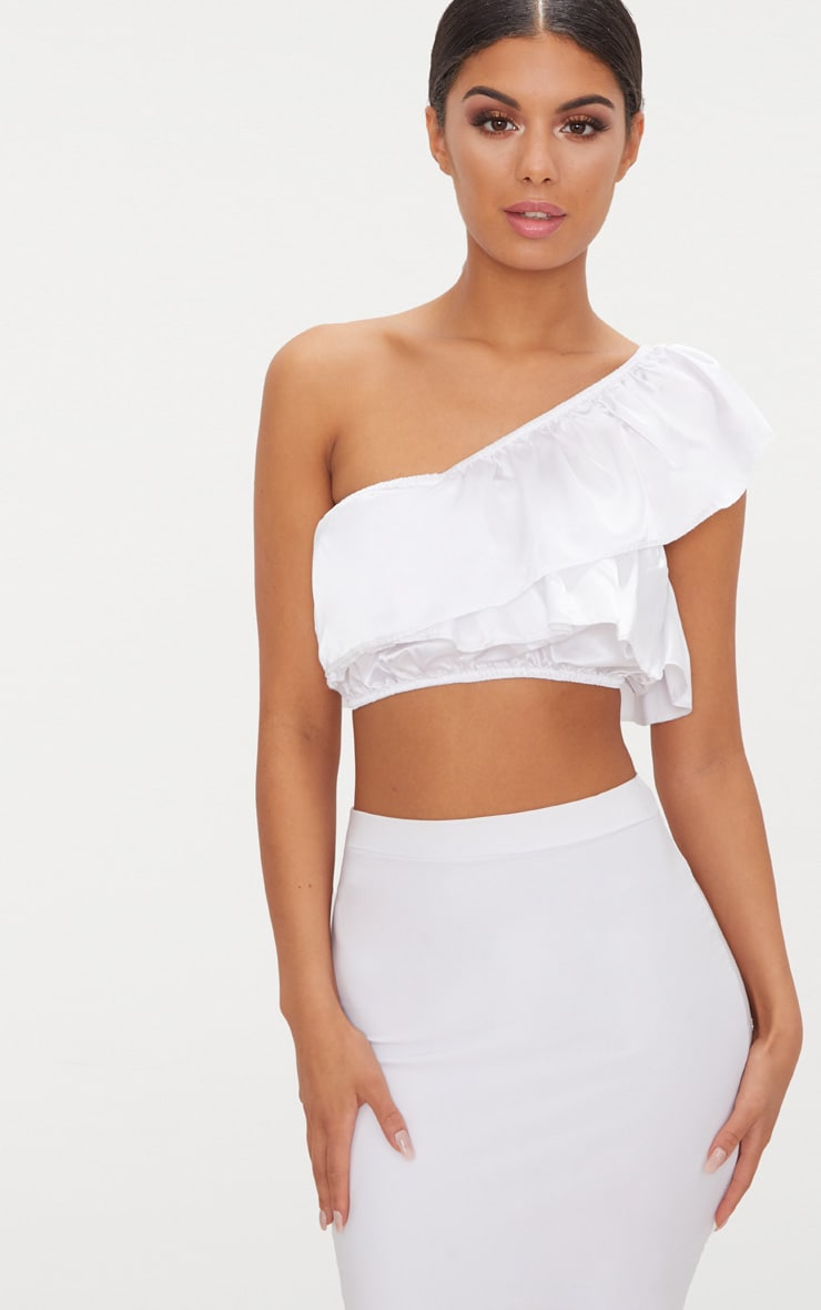 White Satin Frill Detail One Shoulder Crop Top  2