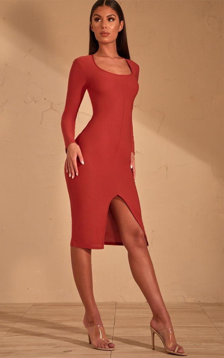 Auburn Split Front Scoop Neck Midi Dress  4