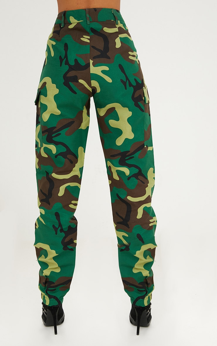 Green Camo Print Cargo Trousers 2
