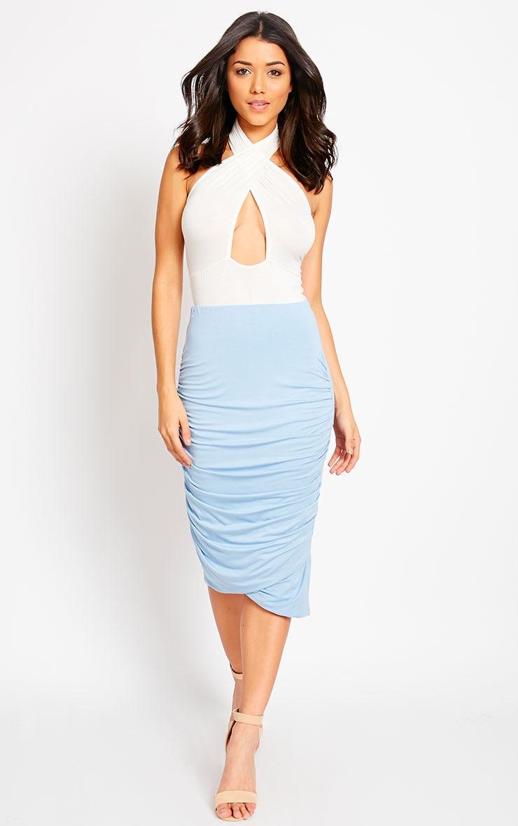 Asia Powder Blue Jersey Ruched Midi Skirt 1