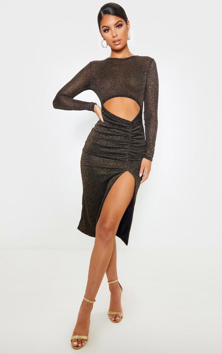 Robe mi-longue noire transparente à paillettes découpée 1