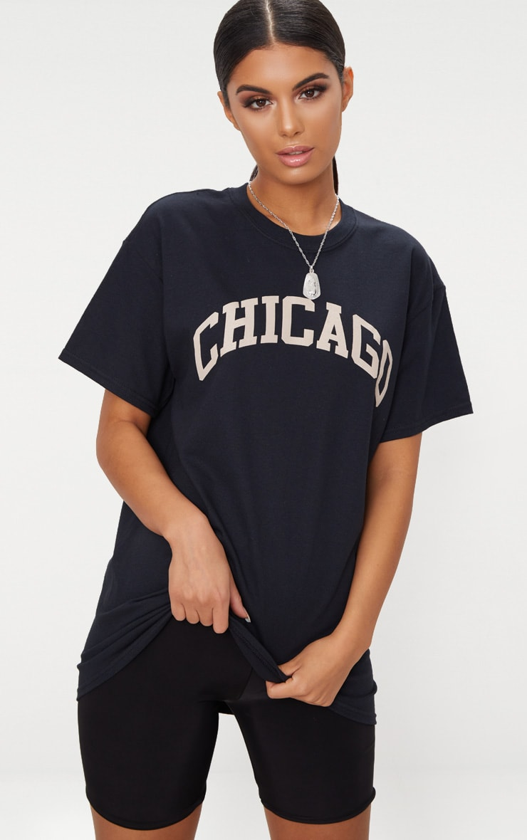 Black Chicago Slogan Oversized T Shirt 1