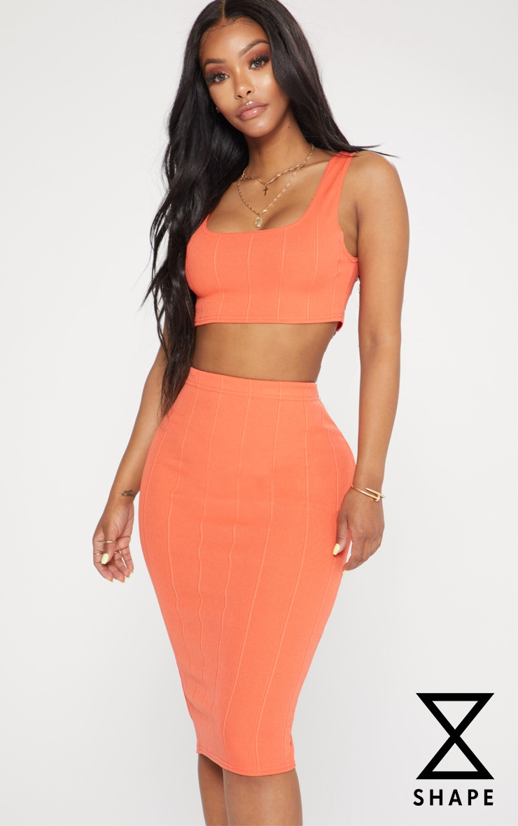 Shape Orange Ribbed Bandage Scoop Neck Crop Top 1