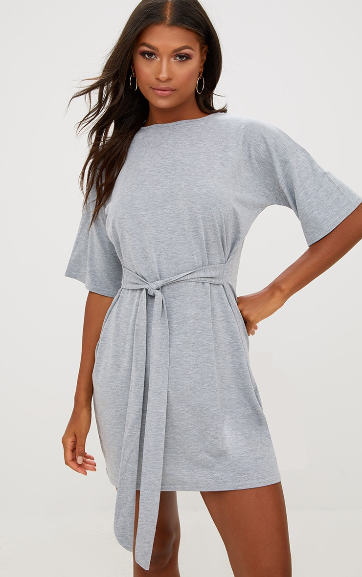 Grey Tie Waist T Shirt Dress 1