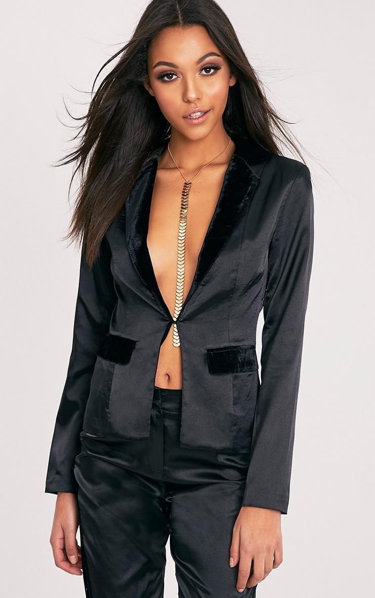 Alaynie Black Velvet Lapel Satin Blazer 1
