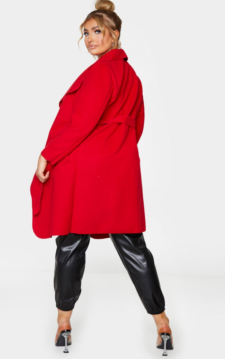 Plus Veronica Red Oversized Waterfall Belted Coat 2