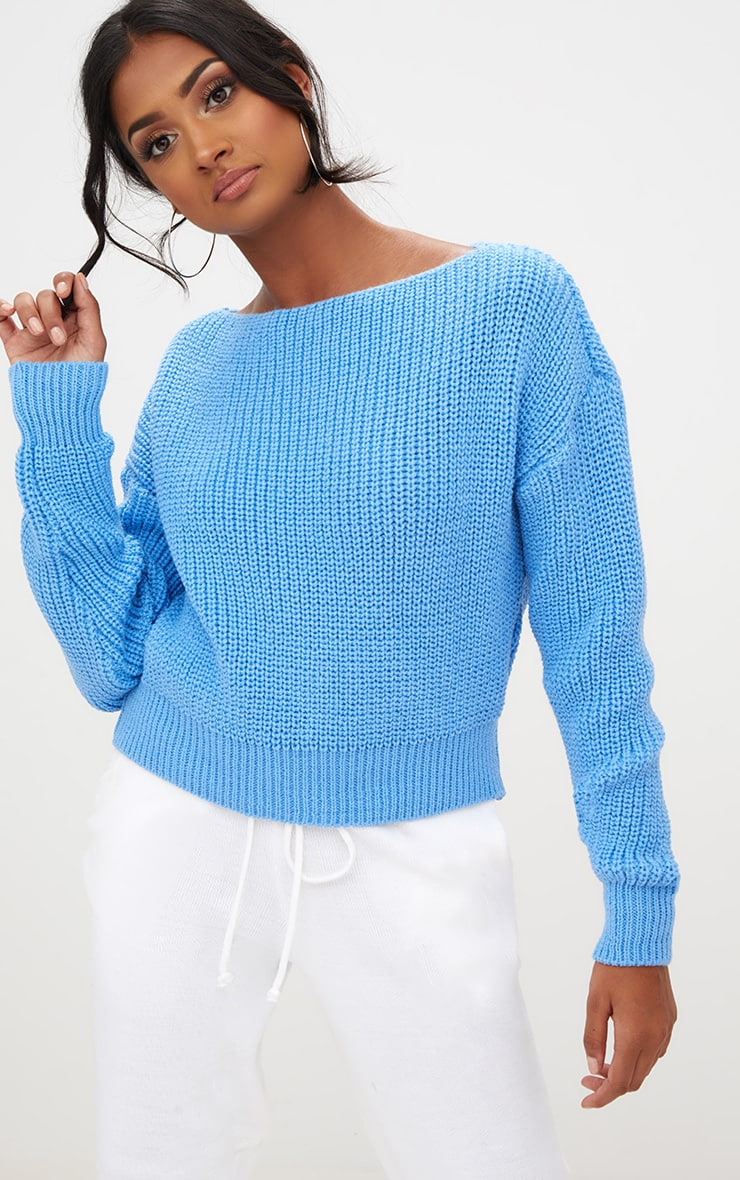Christiana Blue Knit Slash Neck Crop Jumper
