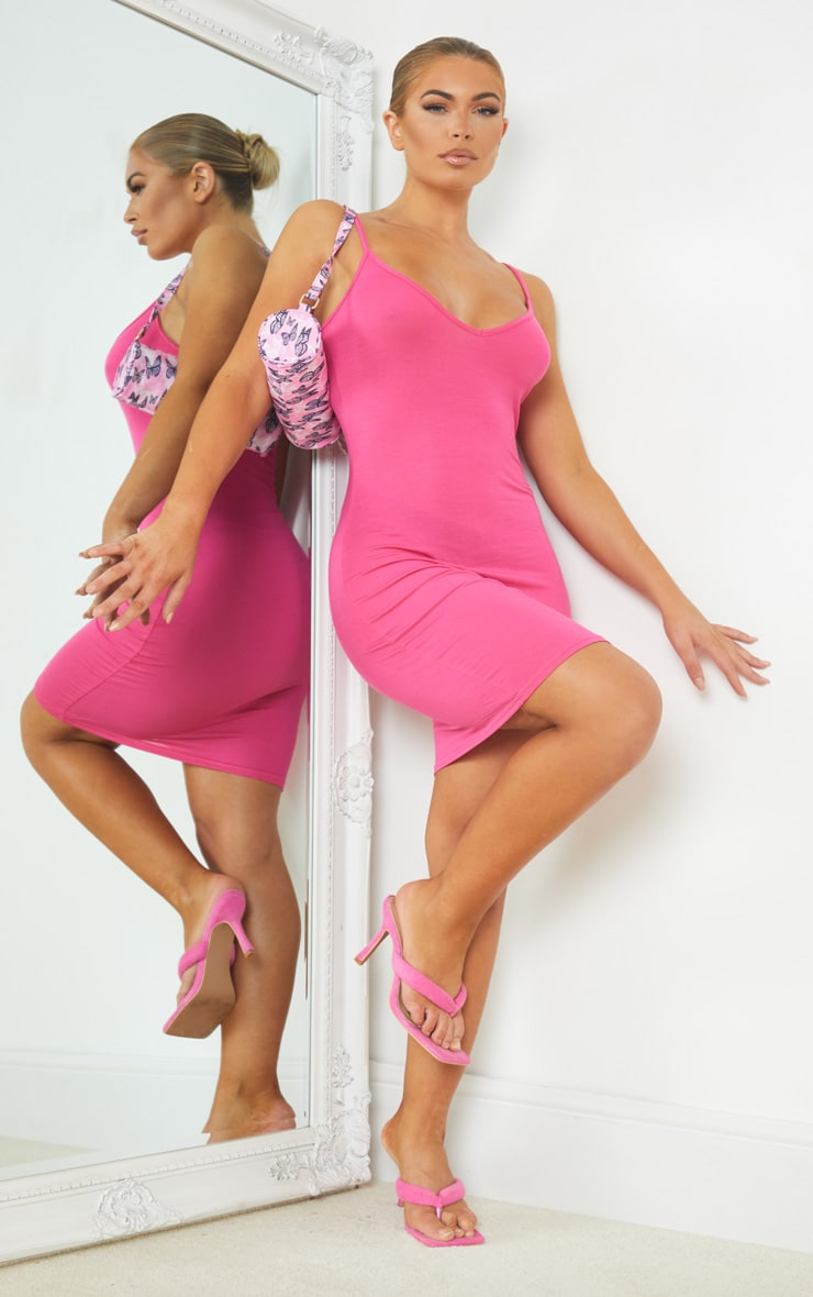 Hot Pink Extreme Plunge Strappy Bodycon Dress 3
