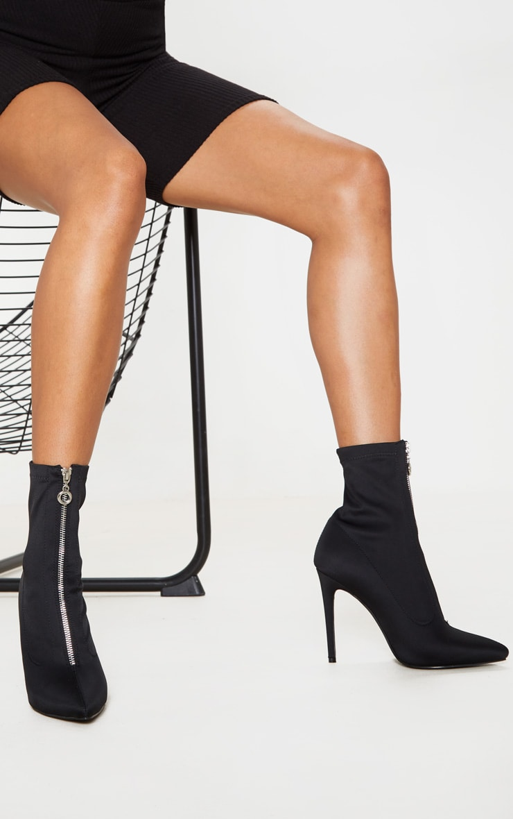 Black Lycra Zip Front Sock Boot 2