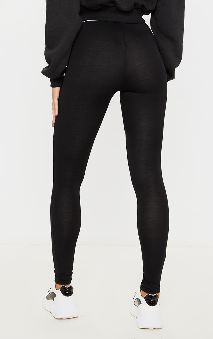 PRETTYLITTLETHING Black Trim Leggings 4