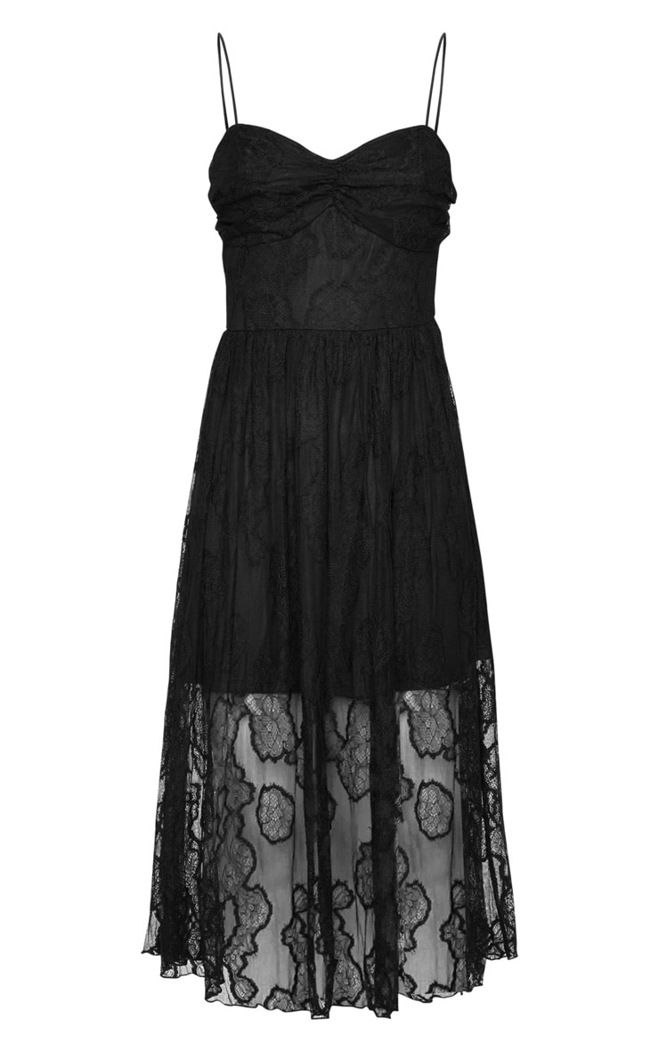 Black Lace Strappy Ruched Bust Midi Dress 5