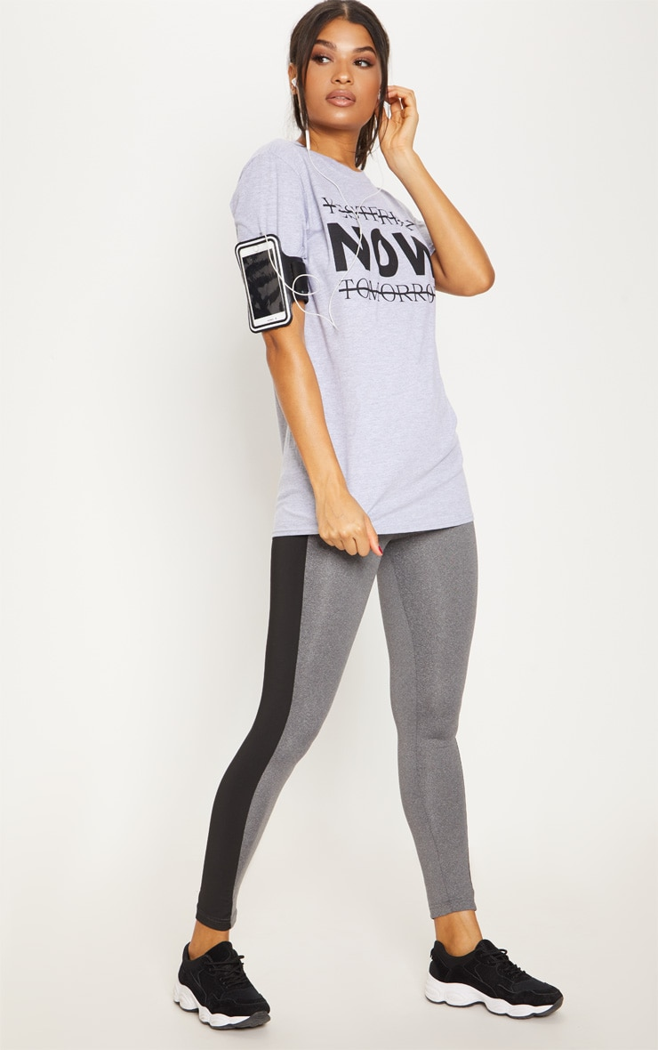 Grey Marl Yesterday Now Tomorrow Active T Shirt  4