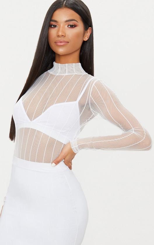 White Mesh High Neck Stripe Thong Bodysuit 1