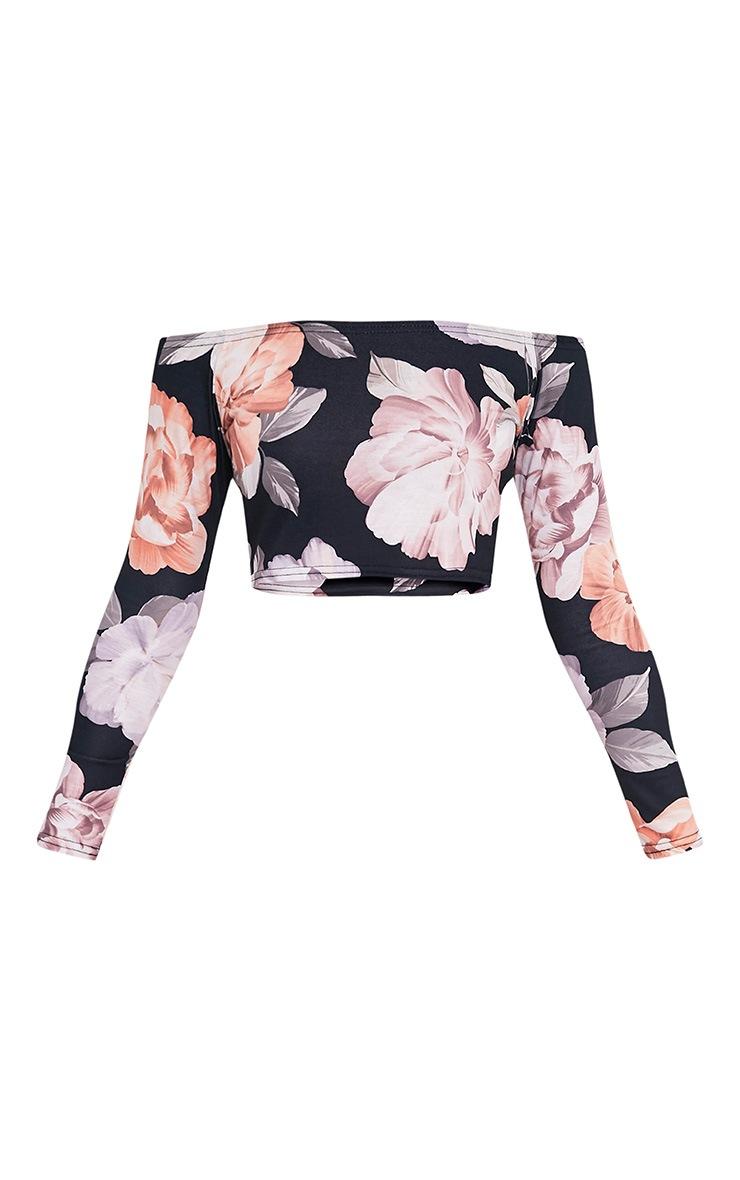 Tatiana Grey Bardot Floral Print Longsleeve Crop Top 3