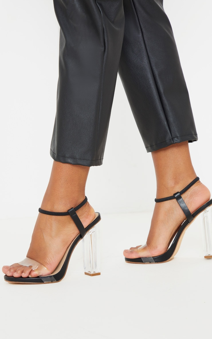 Black Wide Fit Clear Block Heel Strappy Sandal 1