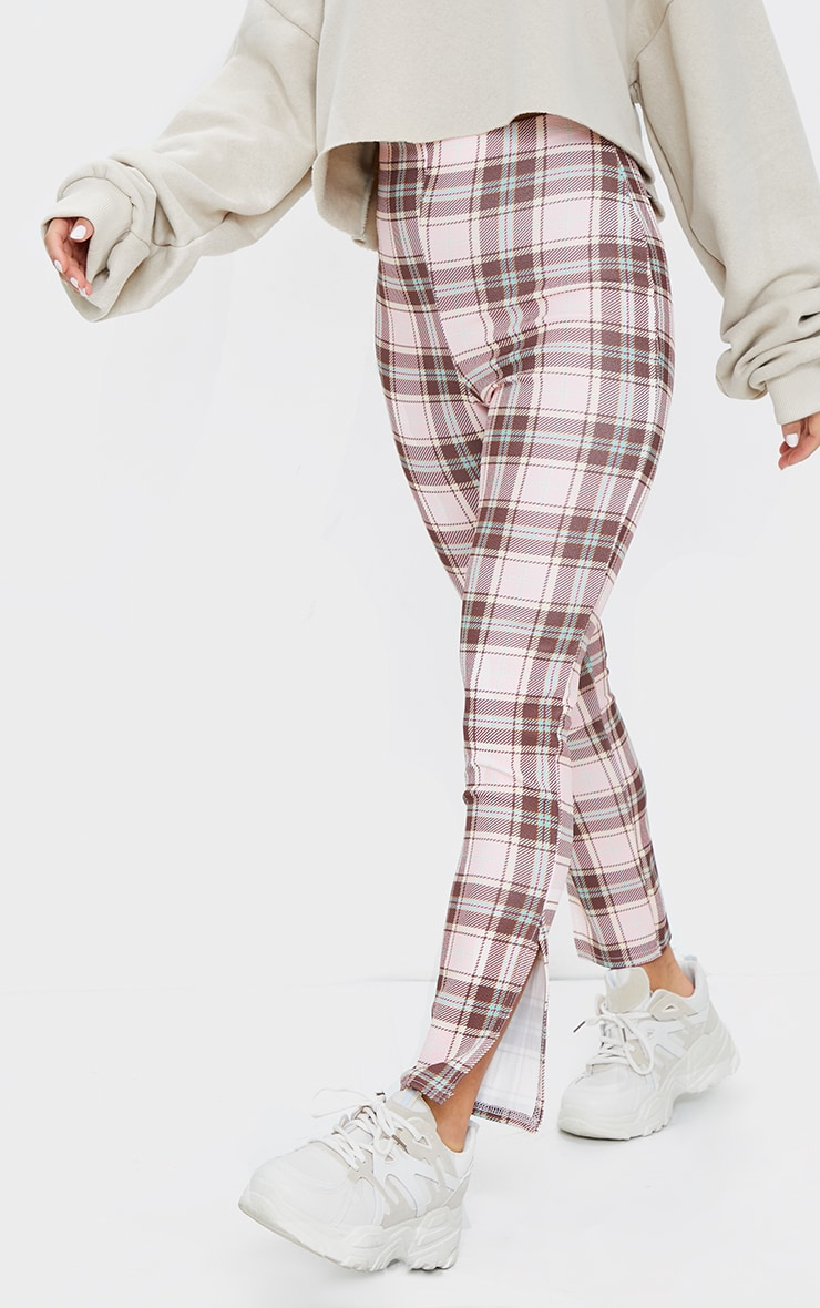 Petite Pink Checked Split Hem Pants 2