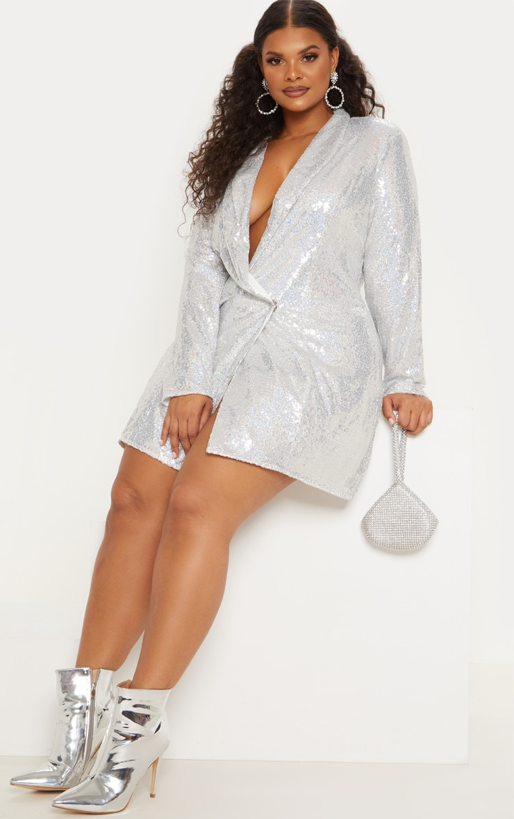 Plus Silver Sequin Blazer Dress 6