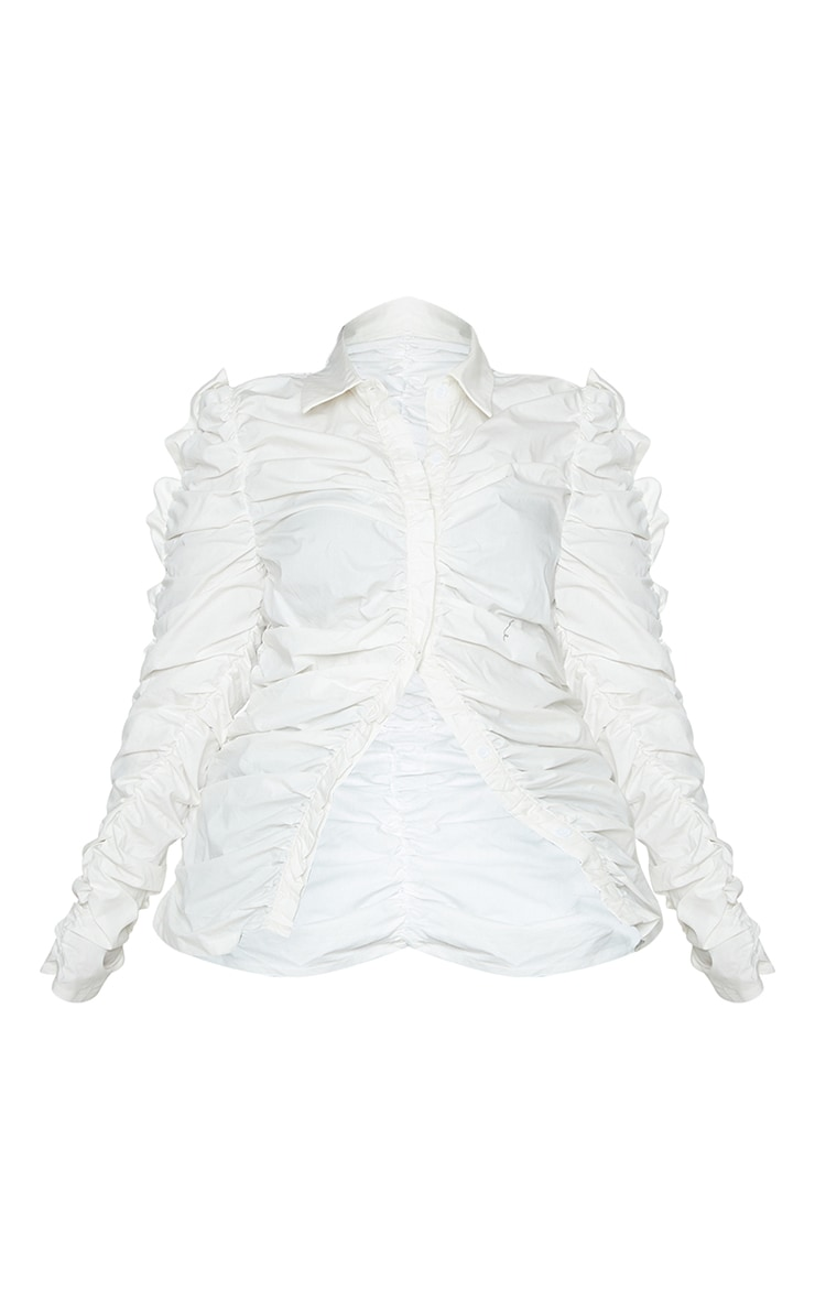 Plus White Ruched Fitted Shirt 5