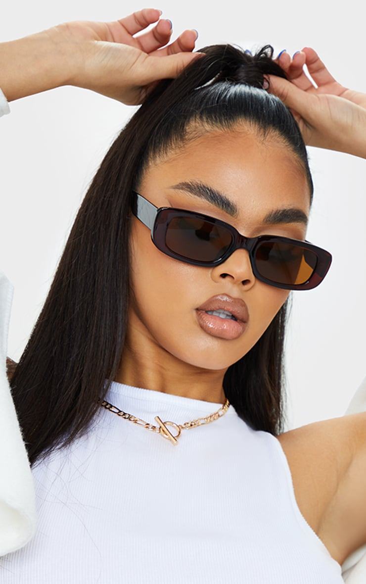 Brown Chunky Square Frame Sunglasses 1
