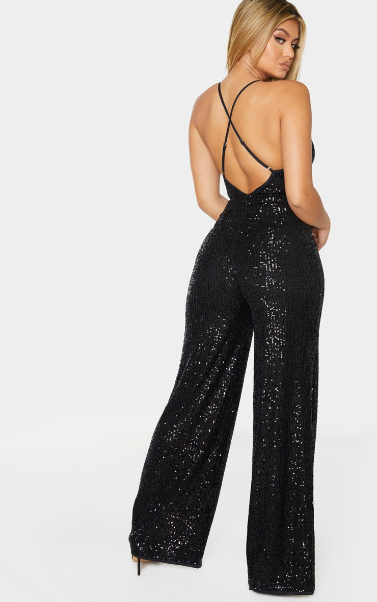 Black Strappy Sequin Plunge Jumpsuit 2