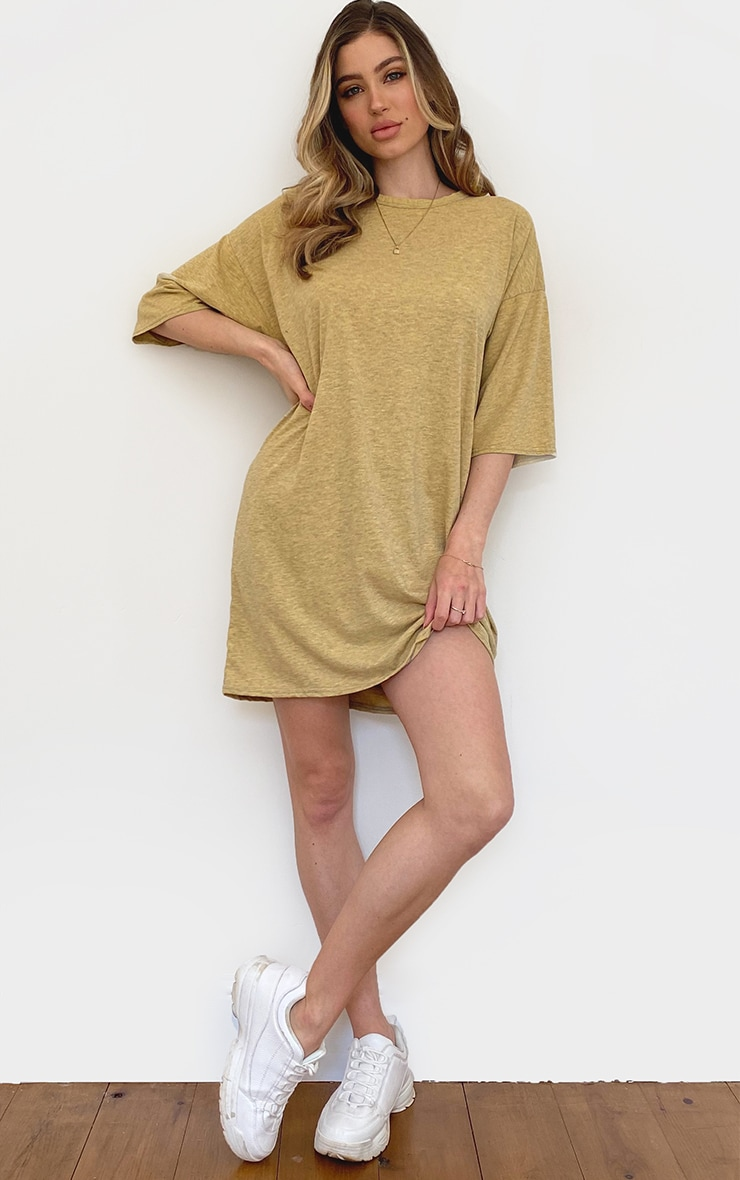 Orange Washed Marl T Shirt Boyfriend Dress 3