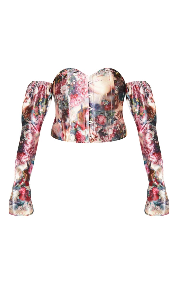 Multi Renaissance Print Satin Long Sleeve Bardot Corset Top 3