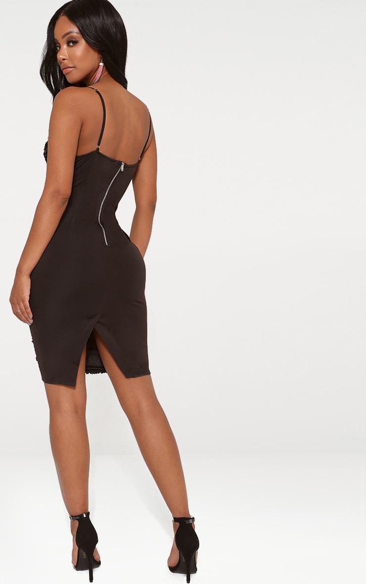 Shape Black Sequin Plunge Bodycon Dress 2