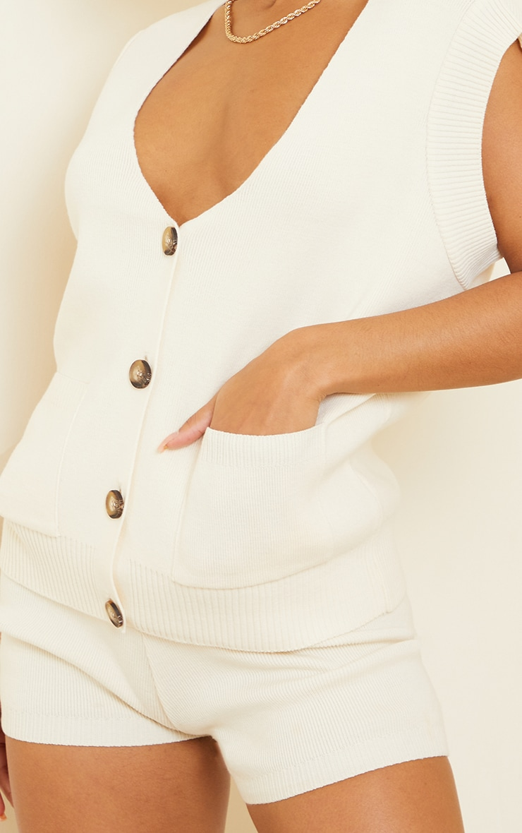 Cream Knitted Pocket Detail Button Down Vest 4