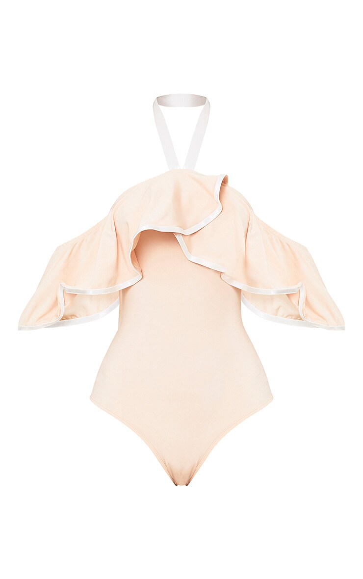 Suezy Nude Frill Halterneck Contrast Trim Thong Bodysuit 3