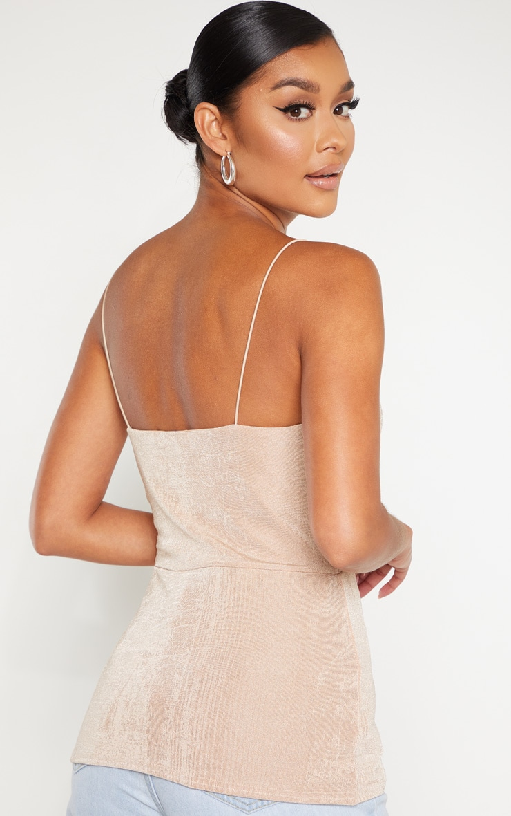 Champagne Textured Slinky Cup Detail Cami Top 2