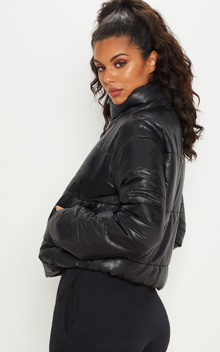 Black High Shine Cropped Puffer Jacket 2