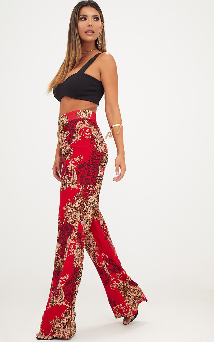 Red Chain Print Wide Leg Trousers 1