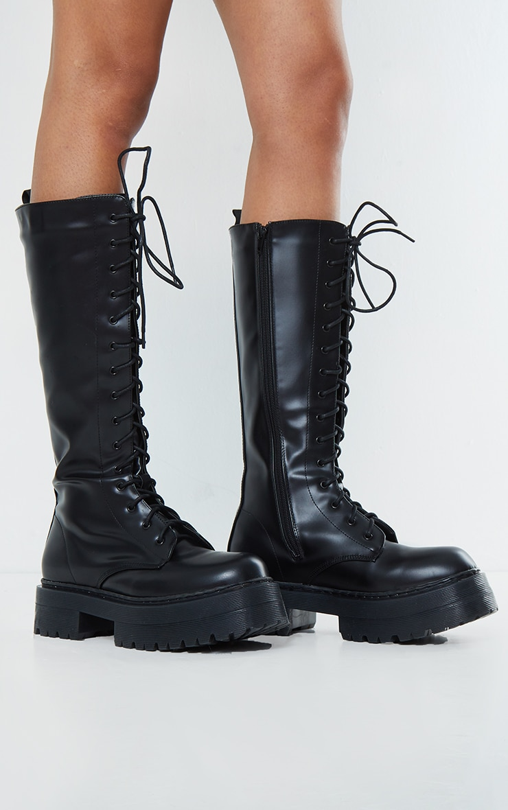 Black PU Patent Double Sole Knee High Lace Up Boots 3