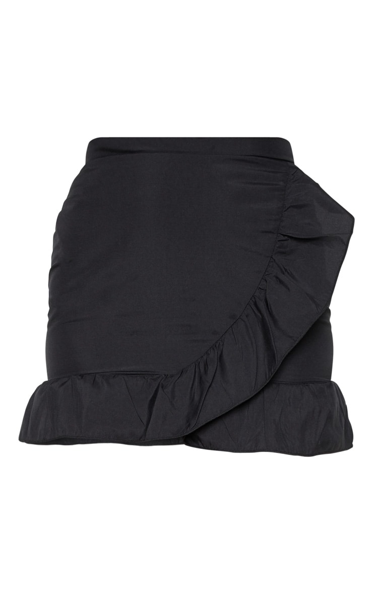 Black Frill Hem Wrap Mini Skirt  3