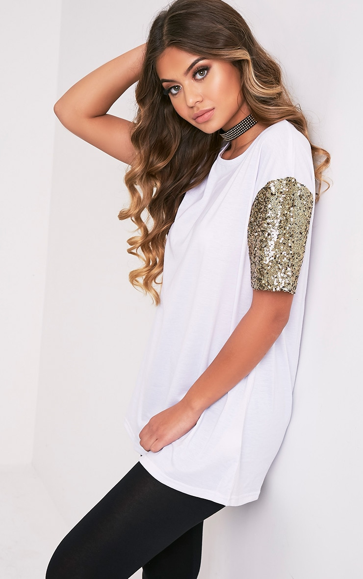 Rei White Sequin Sleeve Jersey Oversized T Shirt 4