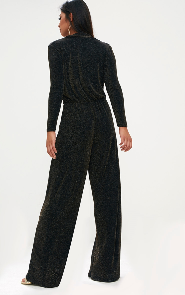 Black Lurex Plunge Jumpsuit 2