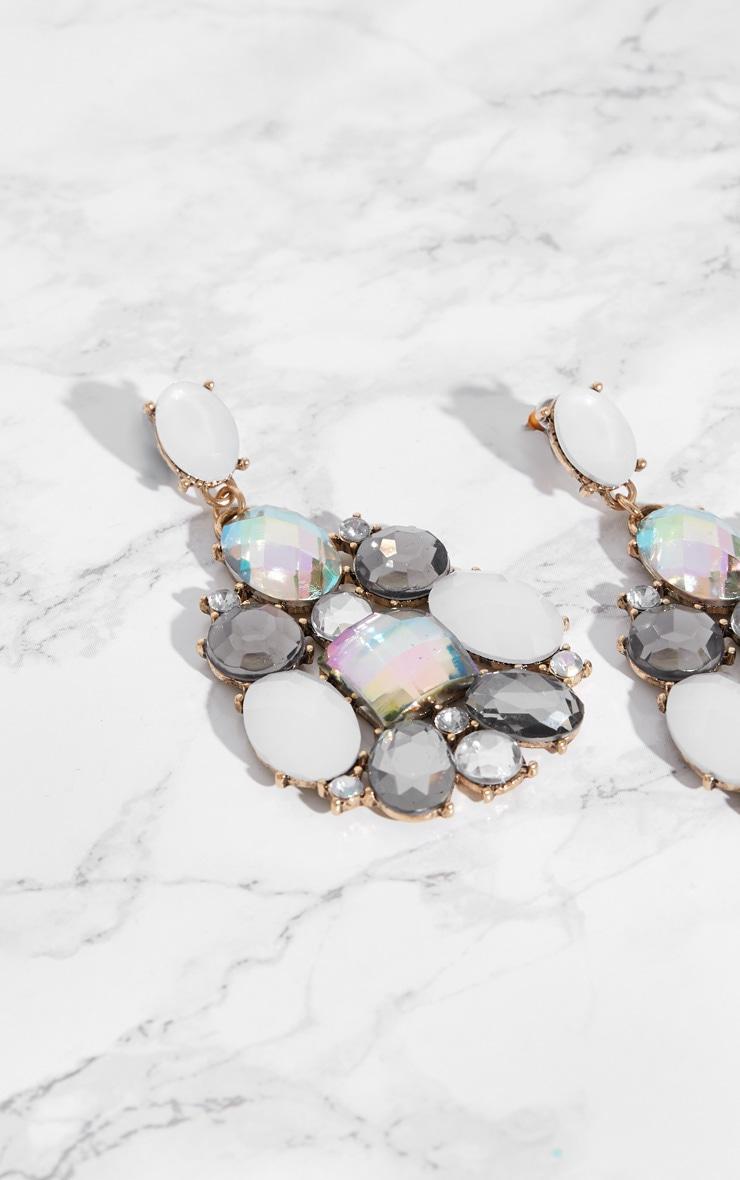 Silver Gem Statement Earrings 4
