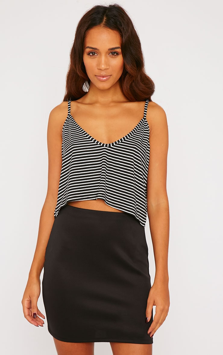 Edith Black Stripe Crop Top 1