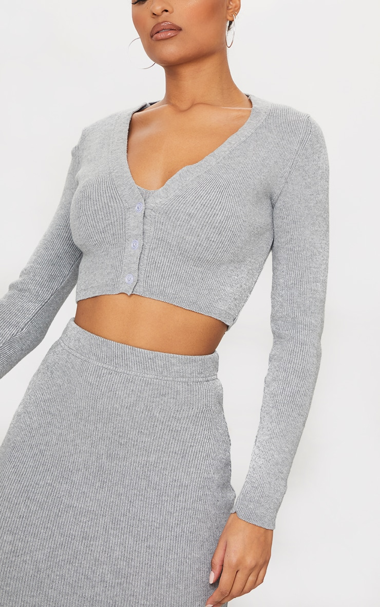 Grey Ribbed Knitted Cropped Cardigan 4