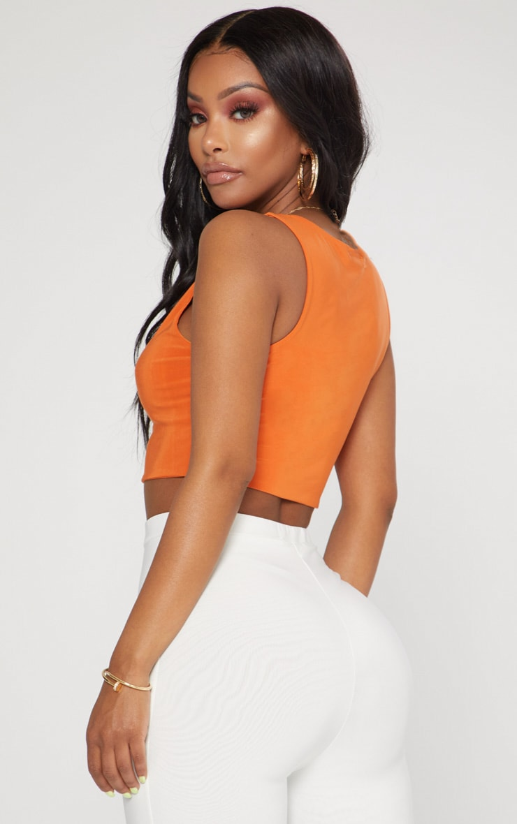 Shape Orange Slinky Square Neck Crop Top 2