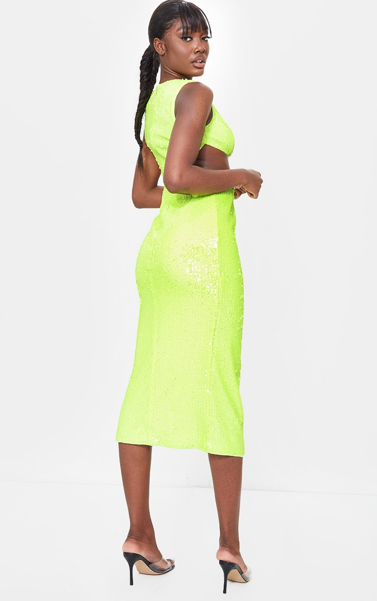 Tall Lime Sequin Cut Out Dress 2