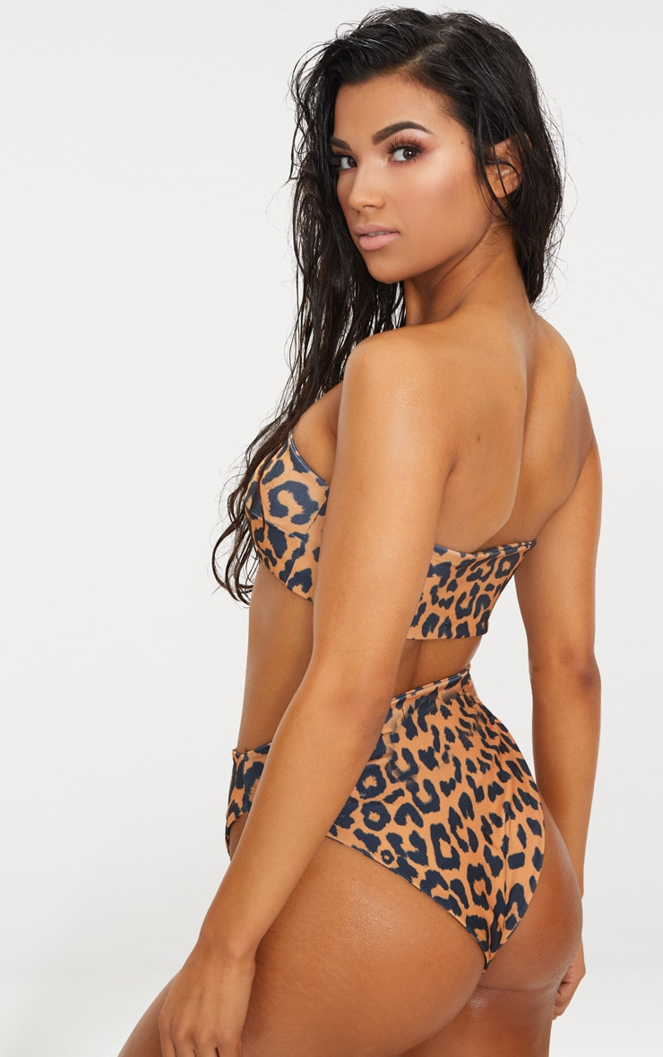 Orange Cheetah Print Bandeau Bikini Top 2